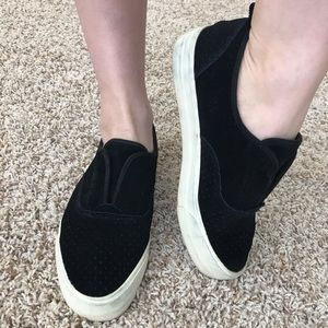 Black velvet slip-on flats